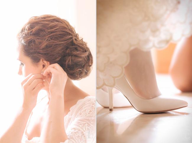 detalle de los zapatos pura lopez y pendientes de novia