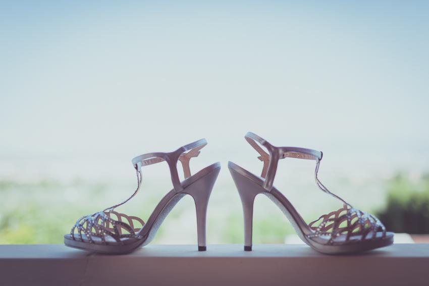 fotografía creativa de los zapato de novia